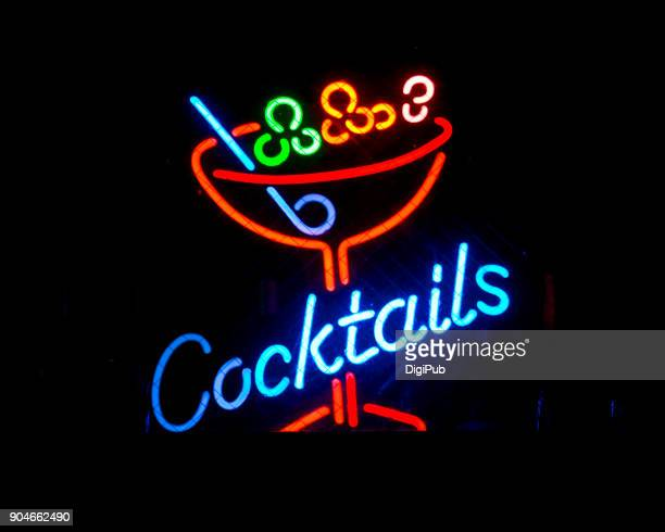 "neon sign ""cocktails"" - neon letters stock photos and pictures"