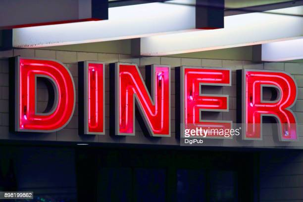 "neon sign ""diner"" - neon letters stock photos and pictures"