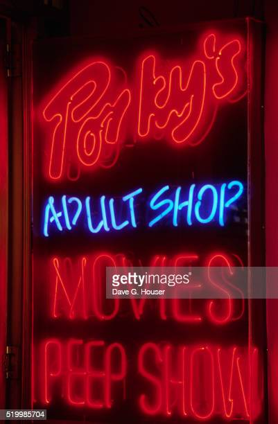 Neon Sign for Porky's Adult Shop