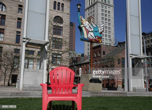 A neon sign installed as part of a public art installation on the Rose Kennedy Greenway in Boston that will feature eight historic neon signs from...