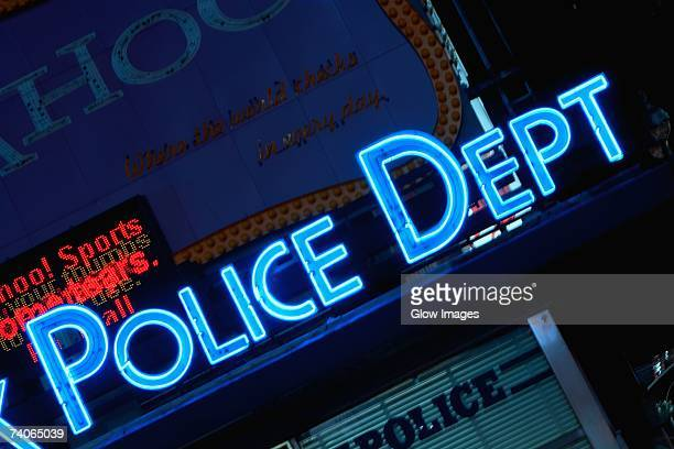 neon sign on a police station, new york city, new york state, usa - 警察署 ストックフォトと画像