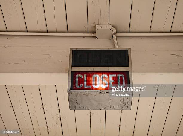 A neon sign saying Closed at a bank in Ellensburg.