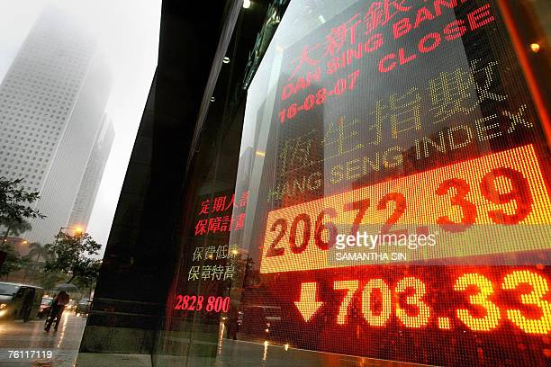 A neon sign showing the closing numbers of the Hang Seng Index is seen along a main street in downtown Hong Kong 16 August 2007 Hong Kong share...