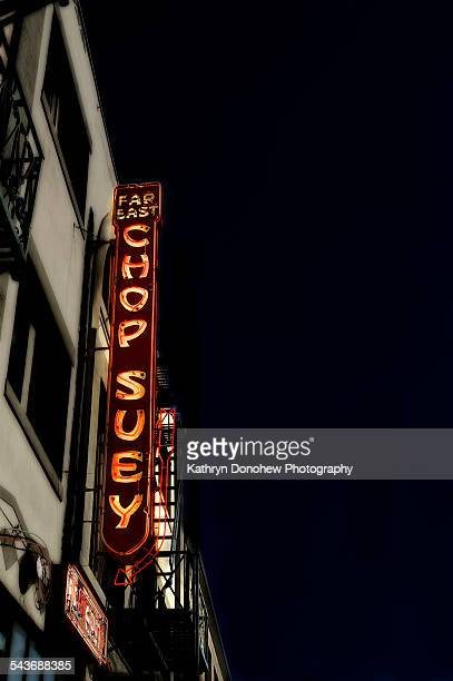Neon sign spells out Far East Chop Suey in Little TokyoLos Angeles
