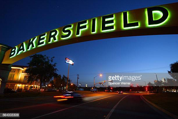 Neon sign welcomes visitors to Bakersfield Country western star Buck Owens built a $10–million 'Buck Owen's Crystal Palace' at Highway 99 right next...