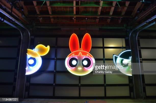 Neon signs at Christian Cowan x The Powerpuff Girls Runway Show at City Market Social House on March 08 2019 in Los Angeles California