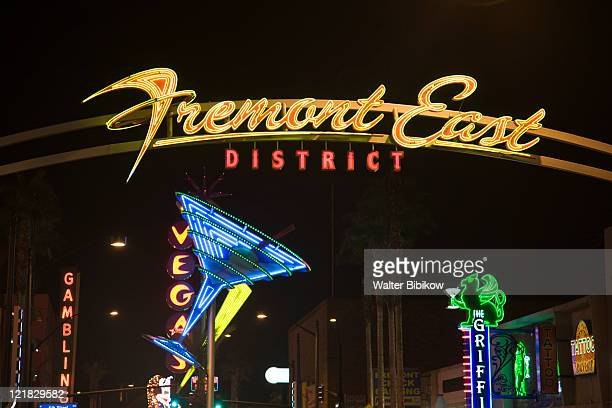 neon signs, fremont east district, las vegas, nevada, usa - fremont street las vegas stock pictures, royalty-free photos & images