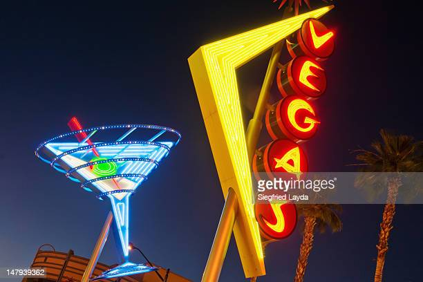 neon signs in fremont street, downtown las vegas - fremont street las vegas stock pictures, royalty-free photos & images