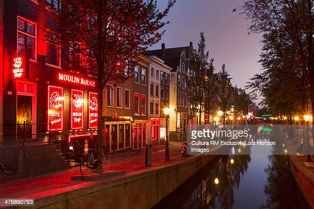 neon signs in red light district, amsterdam, netherlands - red light district stock photos and pictures