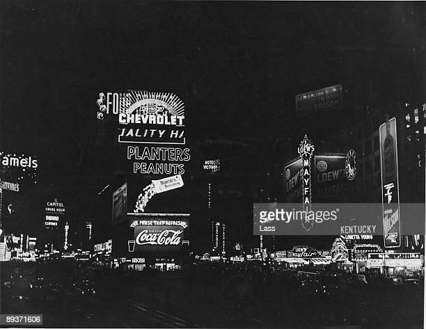 Neon signs in Times Square New York City 1938 Looking uptown along Broadway and 7th Avenue