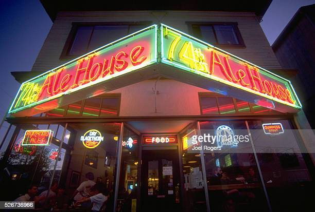 Neon Signs on an Ale House