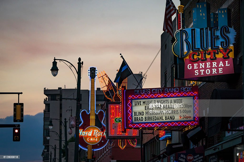 Neon Signs on Beale Street (Memphis) : Stock Photo
