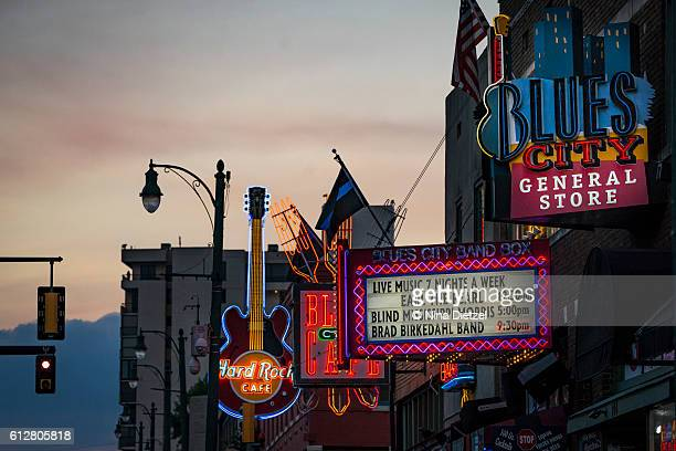 neon signs on beale street (memphis) - tennessee stock pictures, royalty-free photos & images