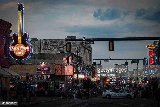 neon signs on beale street (memphis) - memphis stock photos and pictures