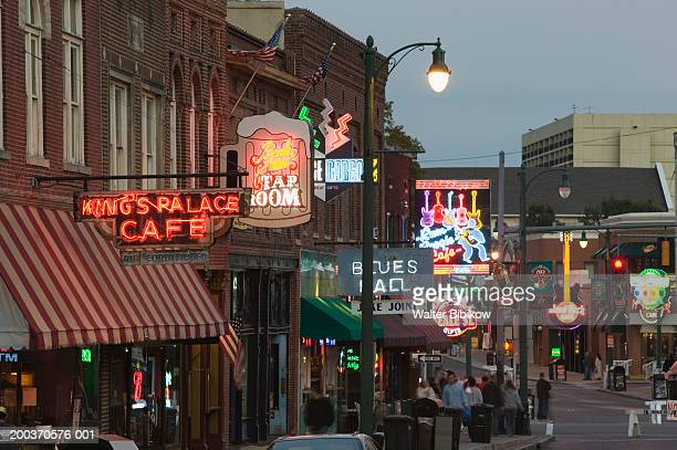 neon signs on buildings - blues music stock pictures, royalty-free photos & images