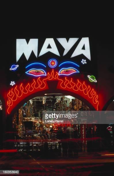 Neon signs on facade of Maya, Melrose Avenue.