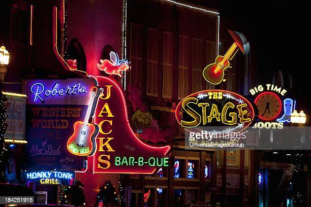Neon Signs on Lower Broadway Area Nashville Tennessee USA