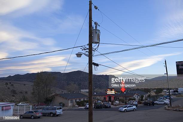 A neon signs points to the Love Ranch a brothel located on the outskirts of Carson City the state capital of Nevada where prostitution is legal...