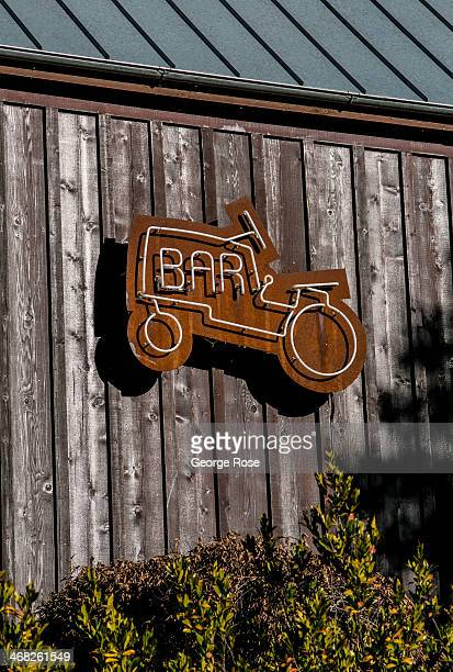 A neon tractor sign hangs outside Barndiva a restaurant located in this buccolic Wine Country town is viewed on December 25 near Healdsburg...