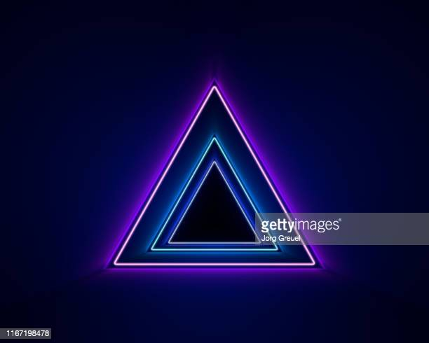 neon triangles - neon stock pictures, royalty-free photos & images