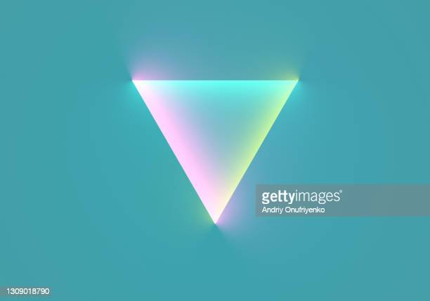 neon triangular shape on blue background. - triangle shape stock pictures, royalty-free photos & images
