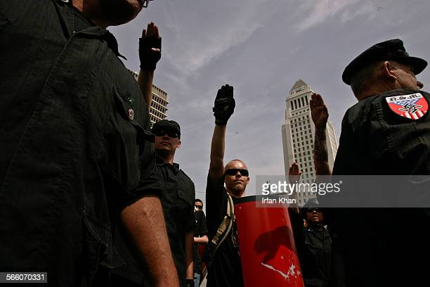 A Neo–Nazi group National Socialist Movement holds a protest outside of Los Angeles City Hall on April 17 2010