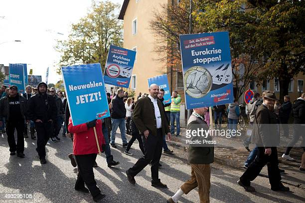 FREILASSING BAVARIA GERMANY Neonazi leaders from the Kameradschaft Berchtesgadenerland march amongst the Alternative for Germany protesters Some of...