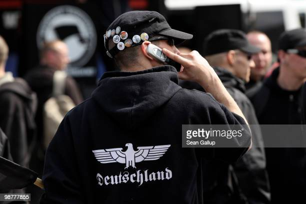 Neo-Nazi supporters arrive at a rally and march on May 1, 2010 in Berlin, Germany. Several hundred neo-Nazis gathered under heavy police oversight to...