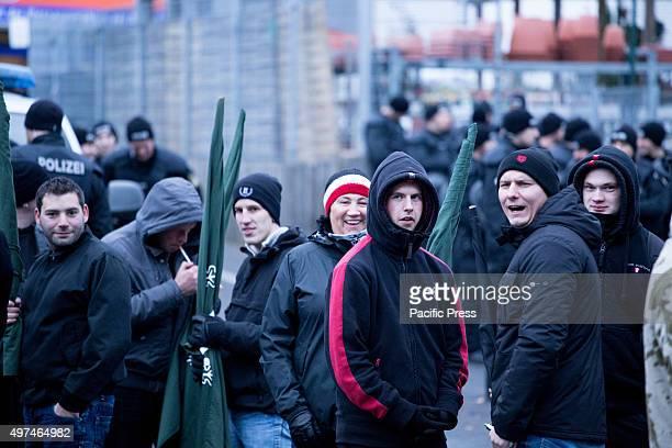GASTEIG WUNSIEDEL BAVARIA GERMANY Neonazis from Munich joined the march amongst them was Petra K attending PEGIDA Munich weekly and Munich hooligan