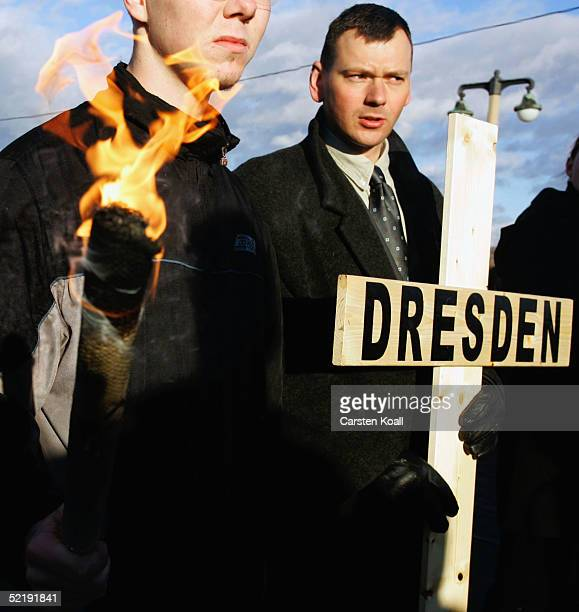 NeoNazis march during the 60th anniversary of the firebombing of Dresden by Allied bombers on February 13 2005 in Dresden Germany According to...