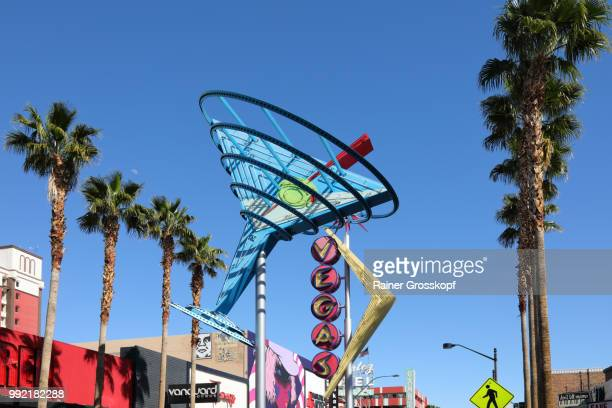 neons in fremont street in downtown las vegas - rainer grosskopf stock pictures, royalty-free photos & images