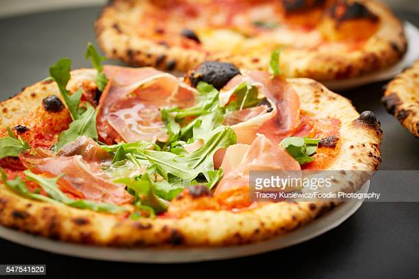 Neopolitan pizza with Proscuitto and arugula