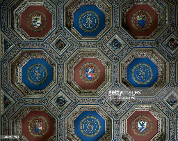 NeoRenaissance coffered ceiling with Faustus initials and the Bagatti Valsecchi coat of arms Fausto's bedroom or the Valtellinese bed room Bagatti...