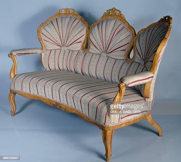 Neorococo style Viennese inspired boxelder maple sofa Palace Revoltella Trieste FriuliVenezia Giulia Italy 19th century