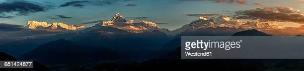 Nepal, Annapurna, Pokhara, Annapurna South, Machapuchare, panoramic view