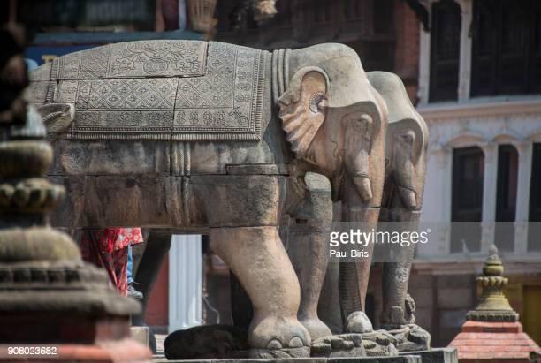 Nepal, Bhaktapur, Elephants Guarding steps to Nyatapola Temple
