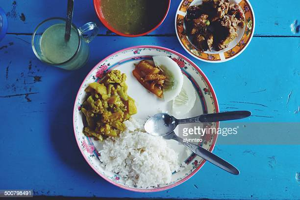 Nepal, Close up of nepalese chicken dal bhat