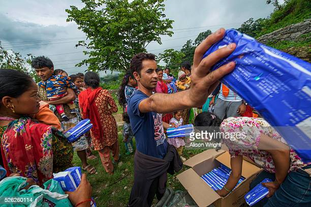 nepal, dholakha, charikot earthquake relief work - emergency management stock pictures, royalty-free photos & images