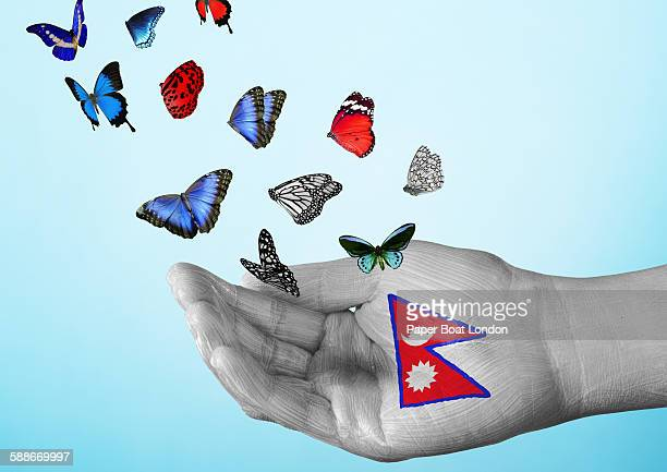 nepal flag painted on hand with butterflies - nepali flag stock pictures, royalty-free photos & images