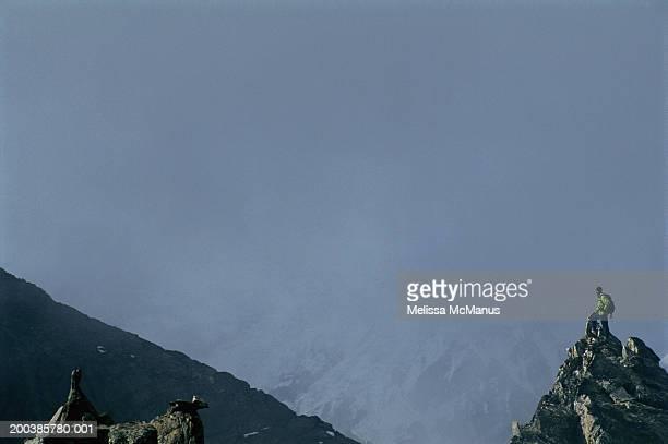 nepal, gokyo ri, male mountainclimber on peak, side view - gokyo ri ストックフォトと画像