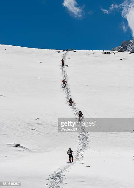 Nepal, Himalaya, Solo Khumbu, Ama Dablam, group of Gurkhas trekking