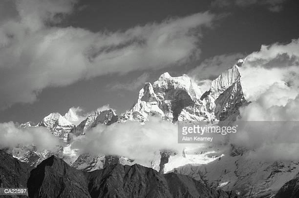 Nepal, Kantega peak and clouds (B&W)