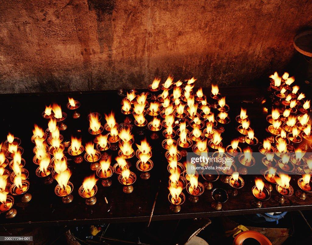 Nepal Kathmandu Bodhnath Stupa Prayer Candles Stock Photo
