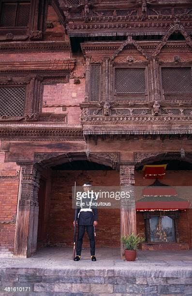 Nepal Kathmandu Royal Palace or Hanuman Dhoka Sentry on guard