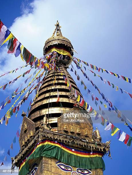 Nepal, Kathmandu, Swayambhunath Stupak with Buddhas Eyes, 5 different shaped layers representing Earth Air Water Fire Life, represents unity of the...
