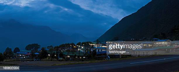 Nepal Lukla mountain airport Sherpa teahouse night Himalayas