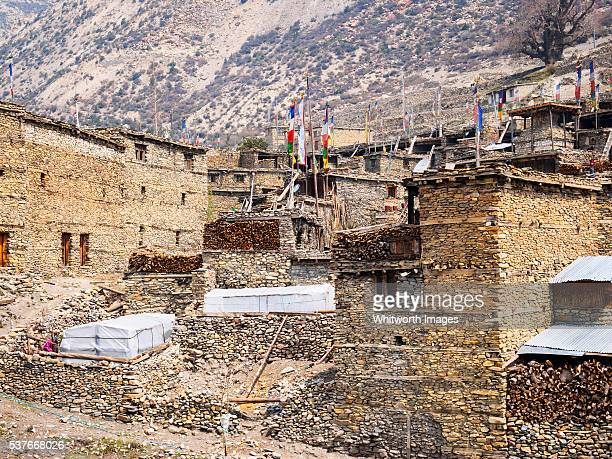 Nepal, Manang: Clustered ancient stone village houses