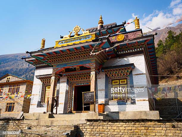 nepal, manang: tibetan buddhist temple in upper pisang village - annapurna circuit stock photos and pictures