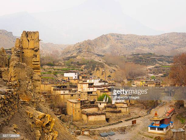 Nepal, Mustang: Ancient Jhong village with ruined fortress