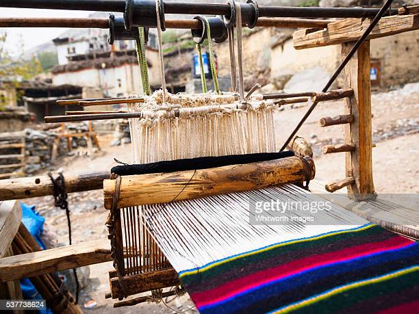 Nepal, Mustang, Jhong: Traditional loom used for weaving Tibetan sash